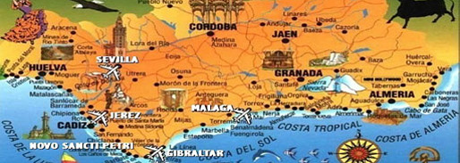 Map of Andalucia showing Malaga and Cadiz provinces