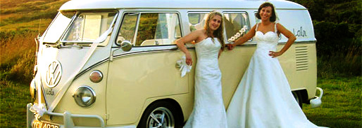 Old fashion van for wedding guest transportation